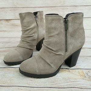 NEW White Mountain Leather Ankle Boots Taupe
